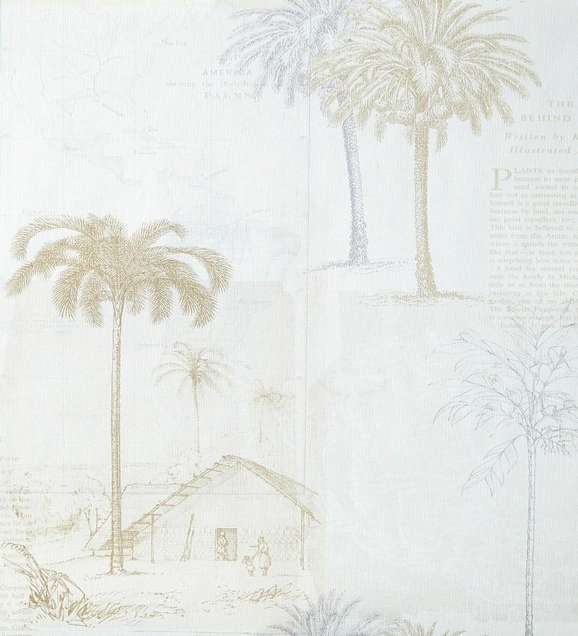 Papel pintado collage páginas con aldeas coloniales marrón topo Makonde 342183
