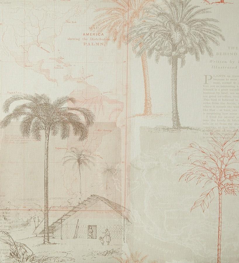 Papel pintado collage páginas con aldeas marrón caldera Makonde 342184
