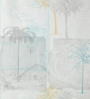 Papel pintado collage páginas con aldeas coloniales verde azulado Makonde 342185
