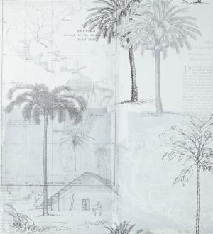 Papel pintado collage páginas con aldeas coloniales gris oscuro Makonde 342186