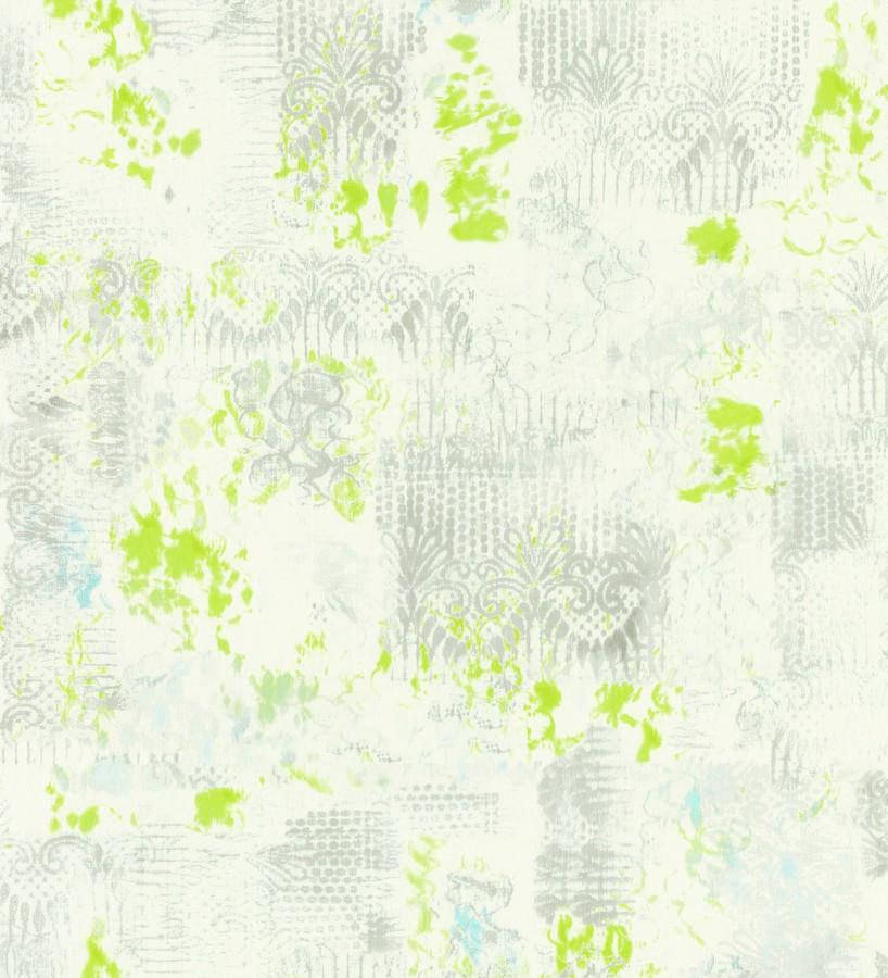 Papel pintado ornamental y manchas de acuarela gris claro Solvay 342312