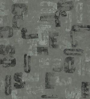 Papel pintado letras modernas Shabby Chic fondo gris oscuro Impact 342398