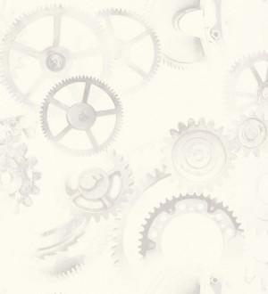 Papel pintado ruedas de engranaje industrial gris claro Locle 342399