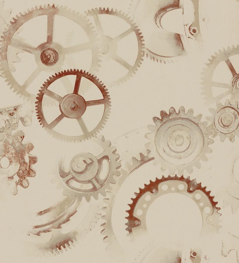 Papel pintado ruedas de engranaje industrial marrón claro Locle 342400
