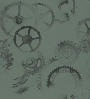Papel pintado ruedas de engranaje industrial negro Locle 342401