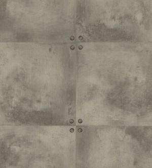 Papel pintado chapa cuadrada con tachuelas gris oscuro Baria 342403