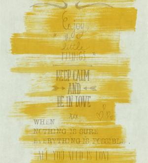 Papel pintado mensajes positivos vintage naranja melocotón Bering 342476