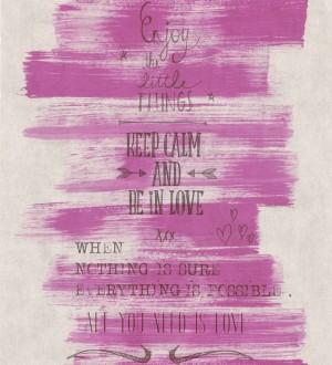 Papel pintado mensajes positivos vintage rosa pálido Bering 342477