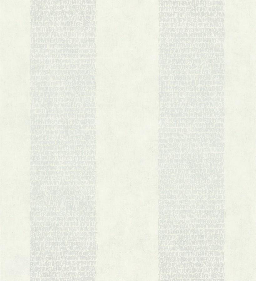 Papel pintado rayas de letras modernas plata metalizado y blanco roto Raya Lucida 342485