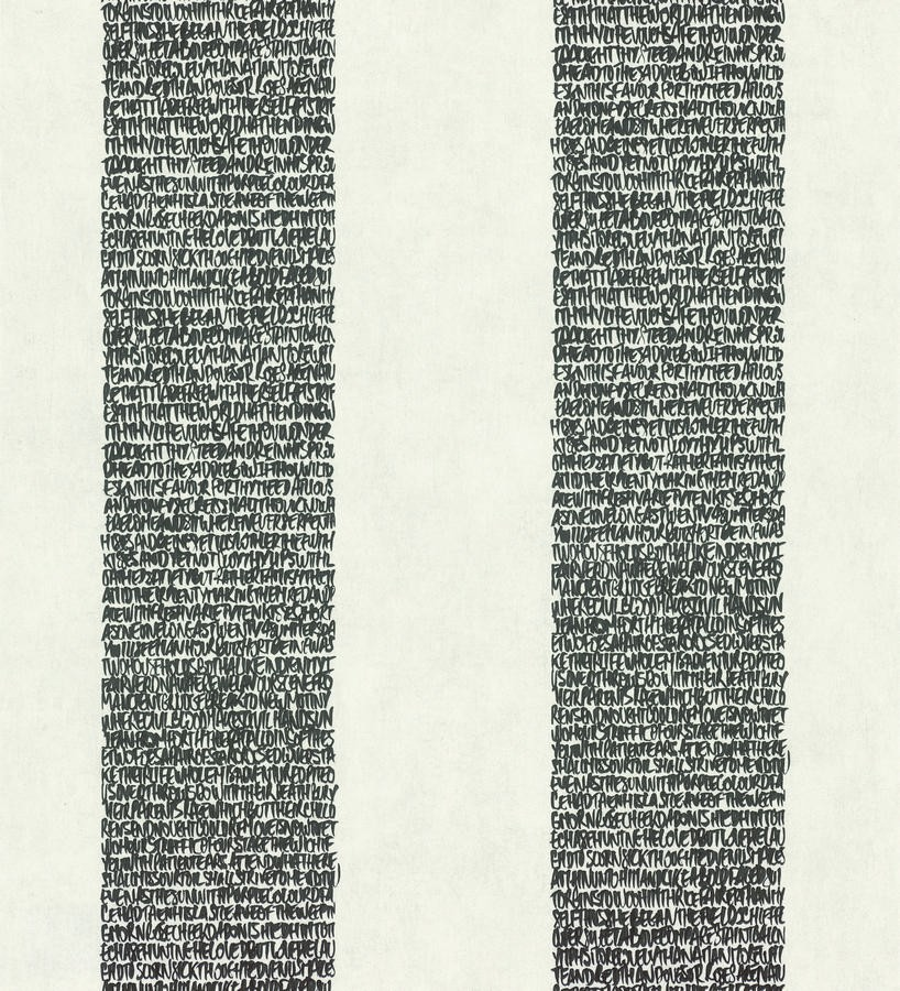 Papel pintado rayas de letras modernas gris oscuro y blanco roto Raya Lucida 342487