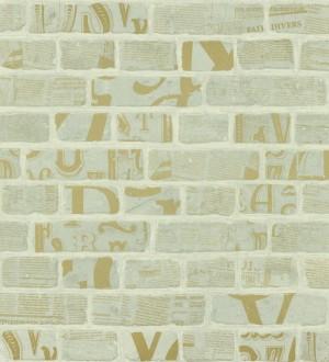 Papel pintado letras y recortes en muro de ladrillo fondo gris Linotype 342489