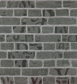 Papel pintado letras y recortes en muro de ladrillo gris visón Linotype 342490