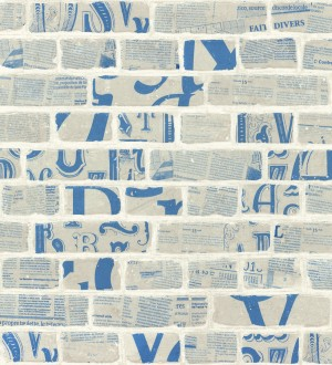 Papel pintado letras y recortes en muro de ladrillo fondo nude Linotype 342491