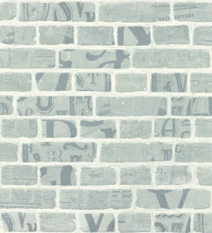 Papel pintado letras y recortes en muro de ladrillo fondo gris Linotype 342492