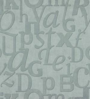Papel pintado letras grandes modernas gris metalizado Rockwell 342494