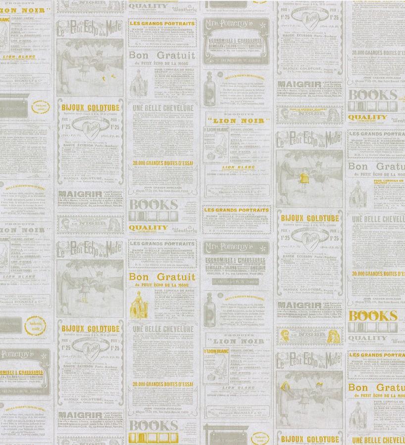 Papel pintado collage de anuncios de periódico naranja melocotón Fiama 342497