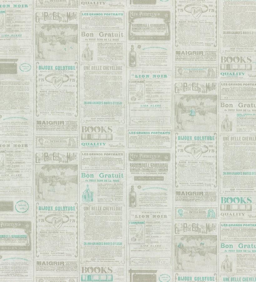 Papel pintado collage de anuncios de periódico celeste grisáceo Fiama 342498