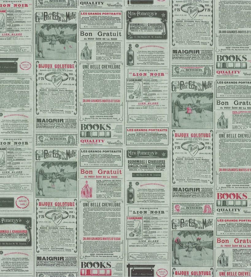 Papel pintado collage de anuncios de periódico gris oscuro Fiama 342499