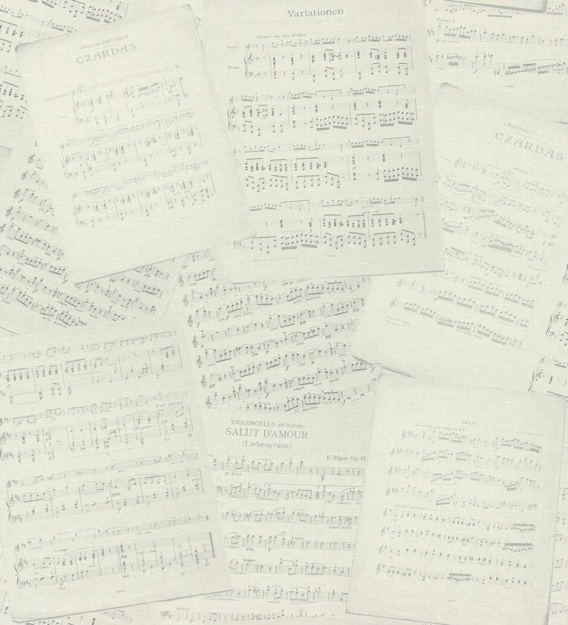 Papel pintado partituras de música vintage fondo nude Anette 342500