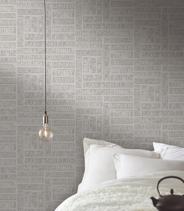 Papel pintado palabras de ciudades horizontal y vertical gris Pertua 342518