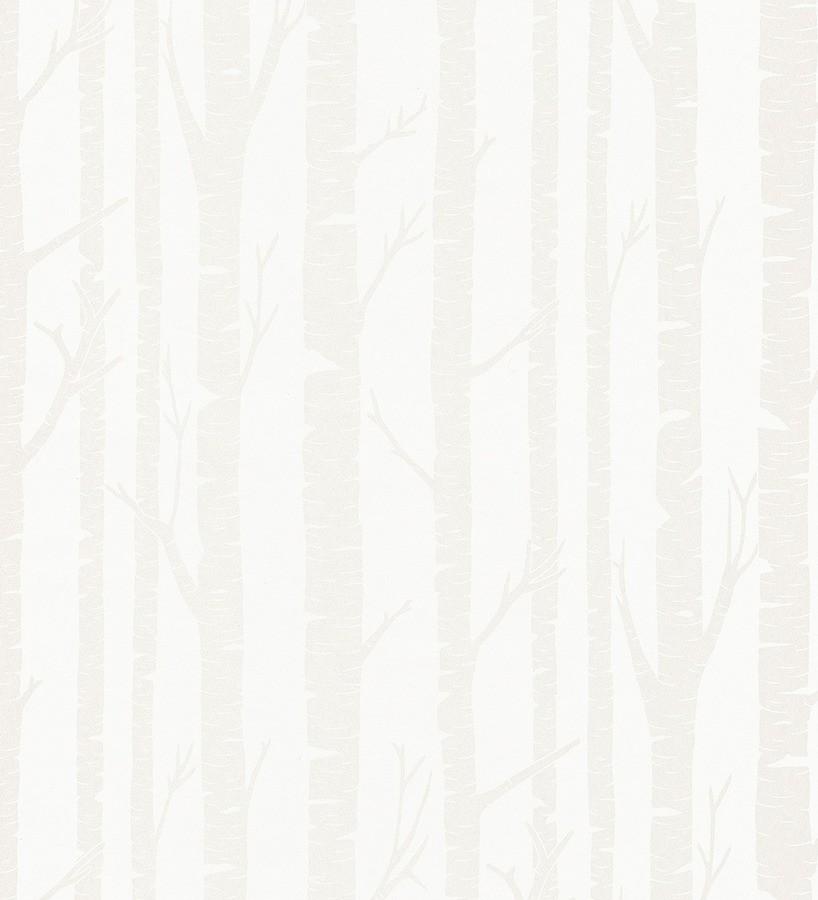 Papel pintado árboles artísticos diseño nórdico blanco perla Andía 342557