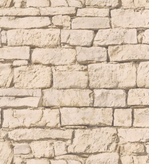 Papel pintado muro de piedra natural rústica blanco Arizona 342703