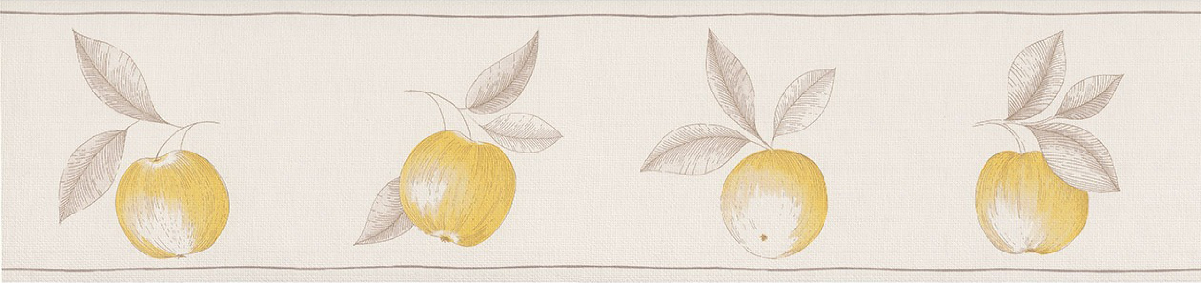Cenefa frutos artísticos con hojas amarillo vainilla Natural Cooking 342704