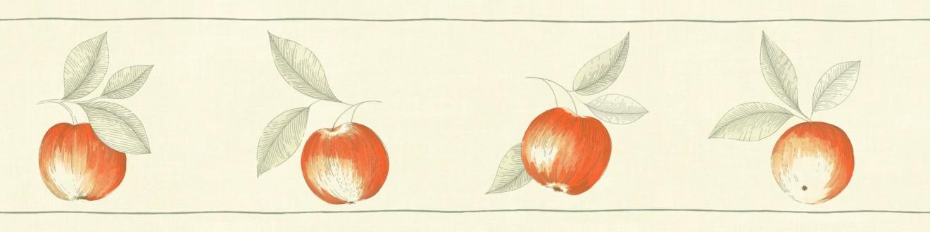 Cenefa frutos artísticos con hojas naranja claro Natural Cooking 342705