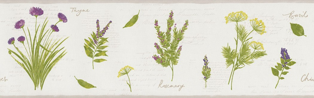 Cenefa plantas aromáticas con letras Lavender Leaves 342708