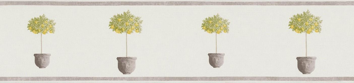 Cenefa árboles pequeños en macetas amarillo tropical Meyer 342709