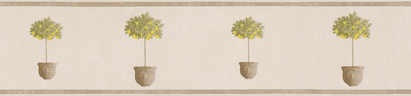 Cenefa árboles pequeños en macetas amarillo tropical Meyer 342711