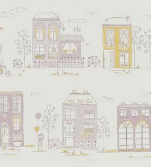 Papel pintado dibujos de casas infantiles coquetas Candy Town 228128