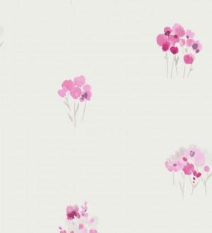 Papel pintado pequeños ramilletes de acuarela rosa intenso Paty 228241