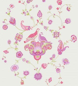Papel pintado ornamental infantil de patos y flores rosa intenso Ornamental Birds 228322