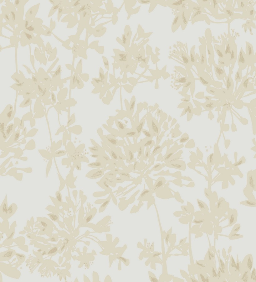 Papel pintado siluetas de hojas artísticas fondo blanco Russelia 228447