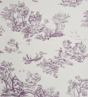 Papel pintado toile de jouy pareja de enamorados lila oscuro Gobelín 229108