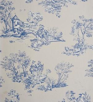 Papel pintado toile de jouy pareja de enamorados azul grisáceo claro Gobelín 229109