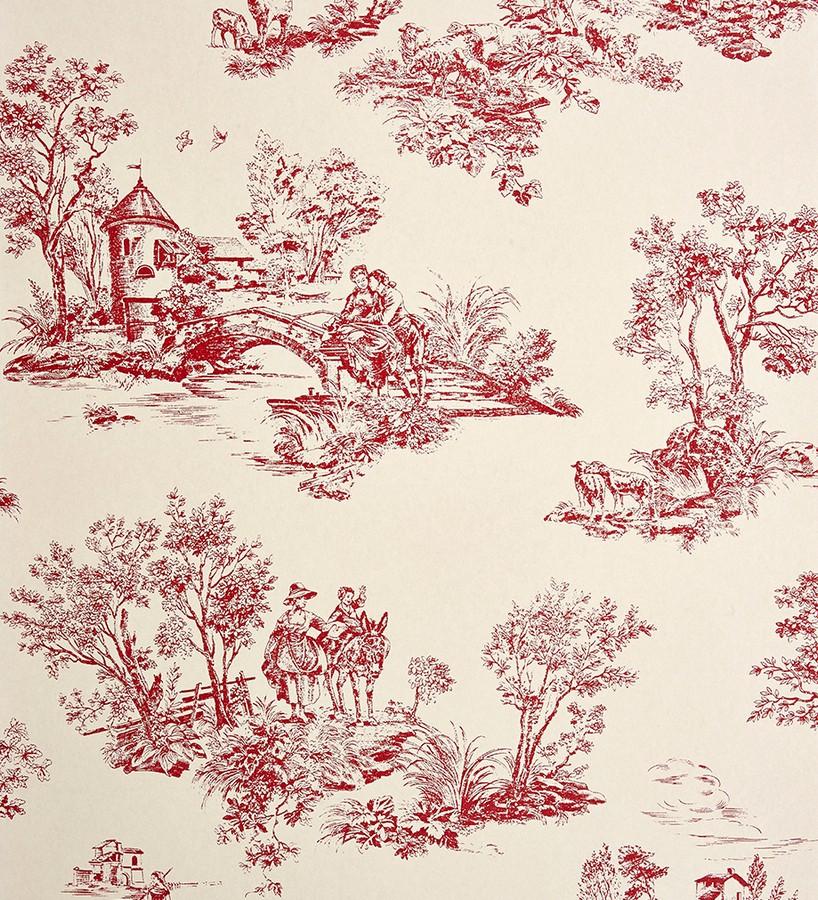 Papel pintado toile de jouy pareja de enamorados rojo teja Gobelín 229110