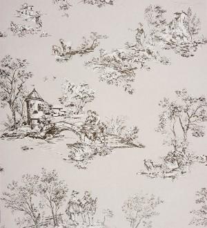 Papel pintado toile de jouy pareja de enamorados gris metalizado Gobelín 229111