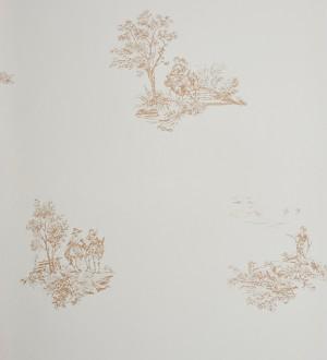 Papel pintado toile de jouy francés escenas campestres beige pálido Caron 229113