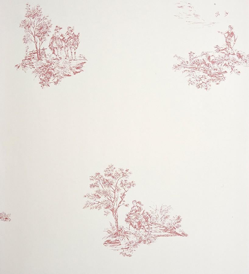 Papel pintado toile de jouy francés escenas campestres rosa claro Caron 229114