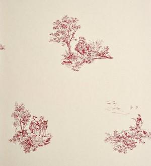 Papel pintado toile de jouy francés escenas campestres rojo teja Caron 229116
