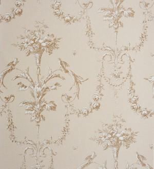 Papel pintado cadenetas de flores y pájaros fondo beige pálido Allegrain 229117