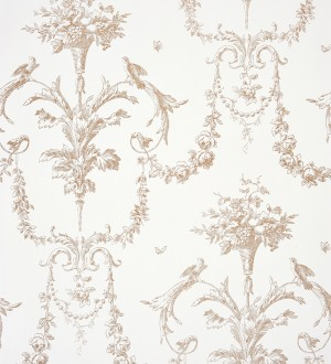Papel pintado cadenetas de flores y pájaros fondo blanco Allegrain 229118