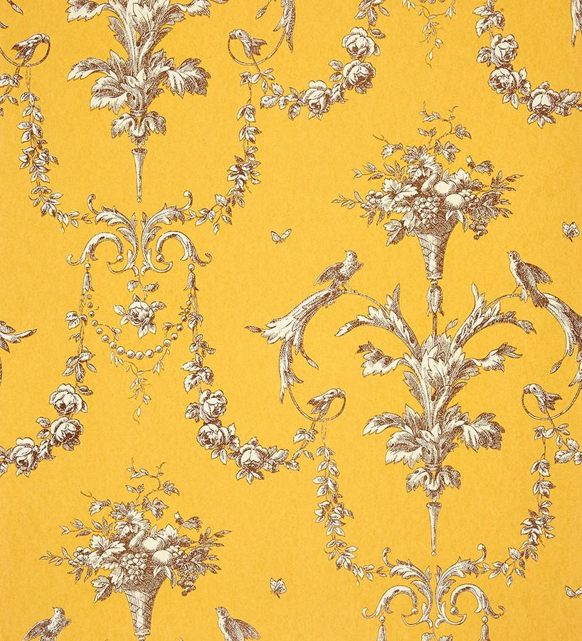 Papel pintado cadenetas de flores y pájaros fondo naranja melocotón Allegrain 229119