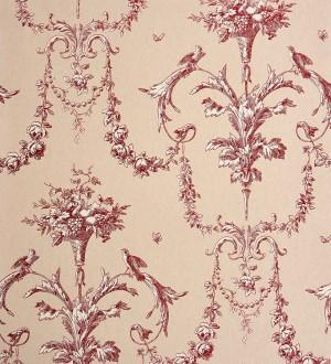 Papel pintado cadenetas de flores y pájaros fondo beige pálido Allegrain 229120