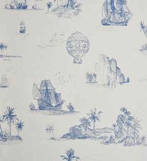 Papel pintado toile de jouy globos y barcos azul grisáceo claro Denubois 229121