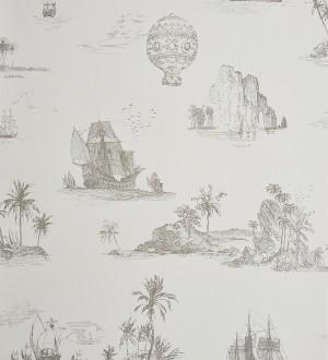 Papel pintado toile de jouy globos y barcos a carboncillo gris Denubois 229122
