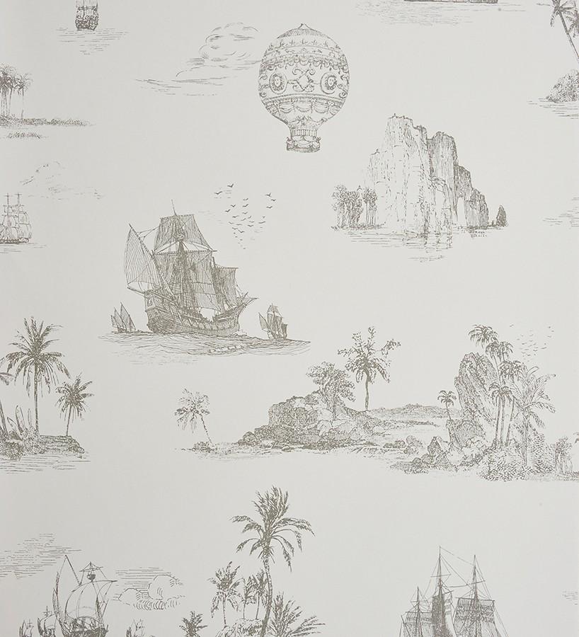 Papel pintado toile de jouy globos y barcos a carboncillo - Papel pintado toile de jouy ...