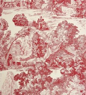 Papel pintado toile de jouy clásico escenas del parque rojo teja Freminet 229128